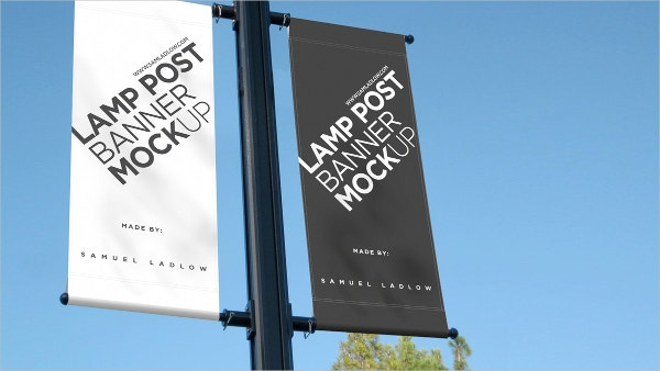 Lamp Post Banner Advertising Mockup Design