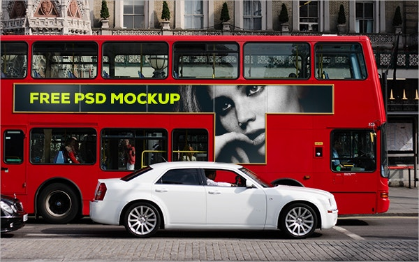london bus psd advertising mockup