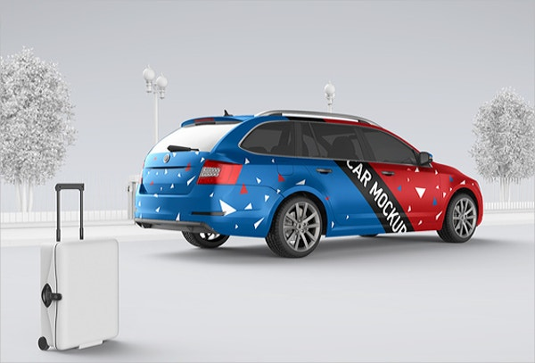 car or taxi advertising mockup