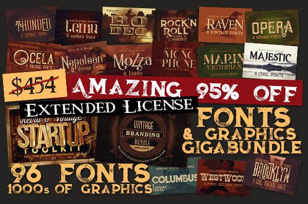 95% OFF - Fonts & Graphics Giga Bundle
