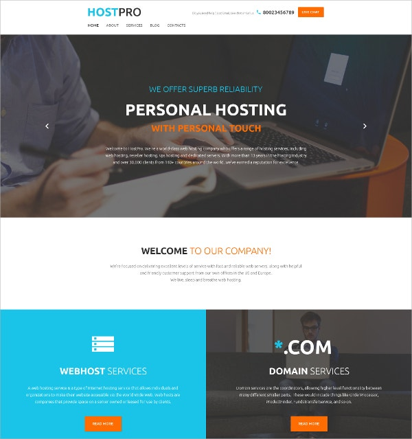 Personal Hosting Bootstrap WordPress Theme $75