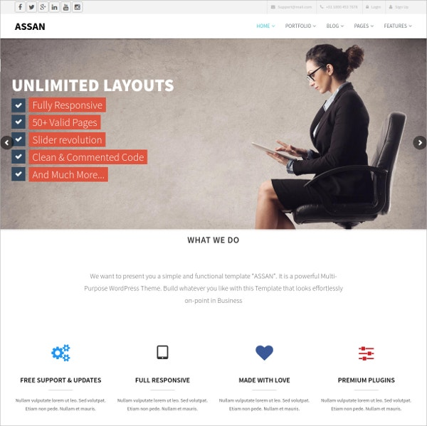 Clean, Modern And Multipurpose Bootstrap WordPress Theme $40
