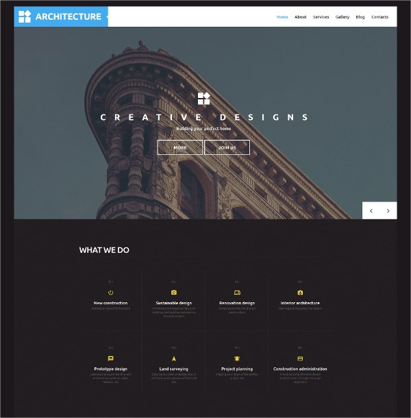 Architecture Bootstrap WordPress Theme $75