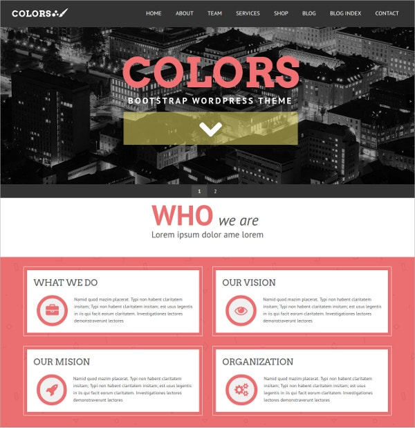 Colorful Bootstrap WordPress Theme $59