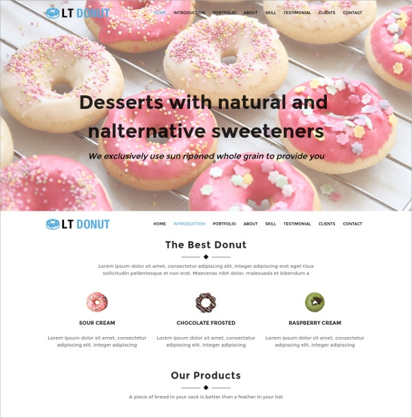 Delicious Food Onepage Bootstrap WordPress Theme $19