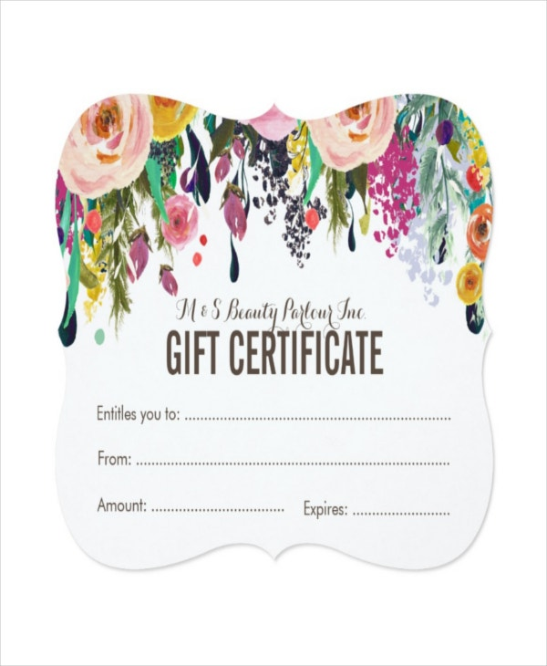 Salon gift certificate template 8 free pdf psd ai vector painted floral salon gift certificate template yadclub Image collections