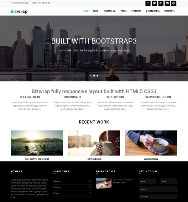Modern Photography Bootstrap WordPress Theme $30