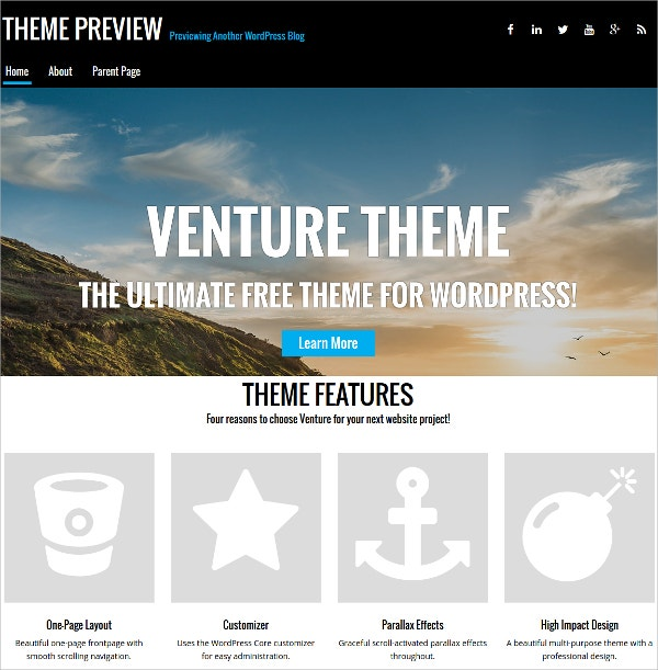 Agencies, Personal Blogs One Page Bootstrap WordPress Theme