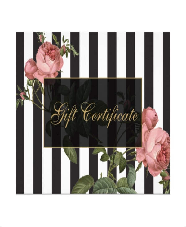 black and white stripes salon gift certificate card