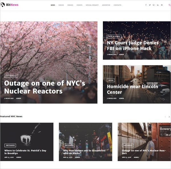 City Portal Magazine Bootstrap WordPress Theme $45