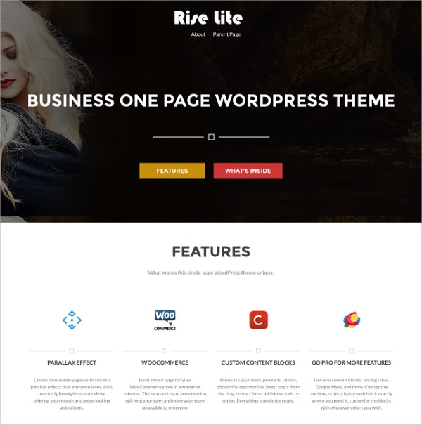 Business, Corporate Free One Page Bootstrap WordPress Theme