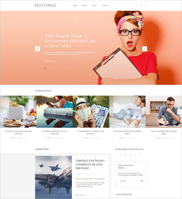 Journalist Blog Bootstrap WordPress Theme $45