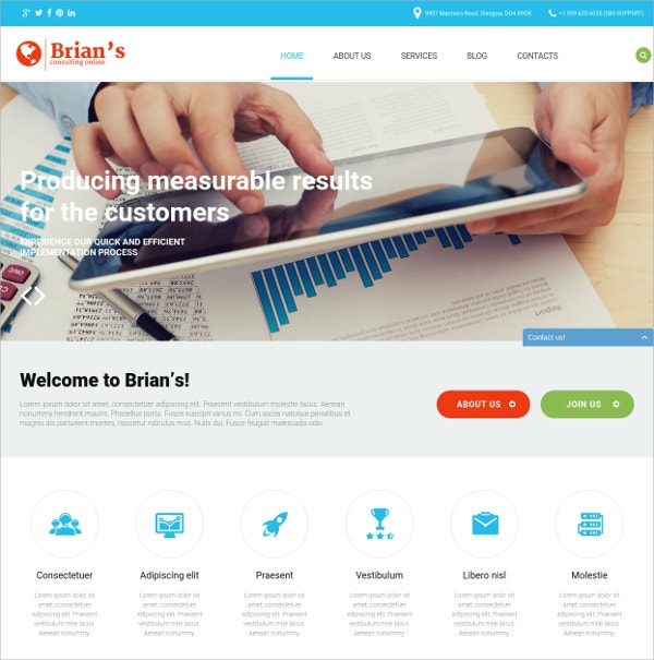 Consulting Bootstrap WordPress Theme $39