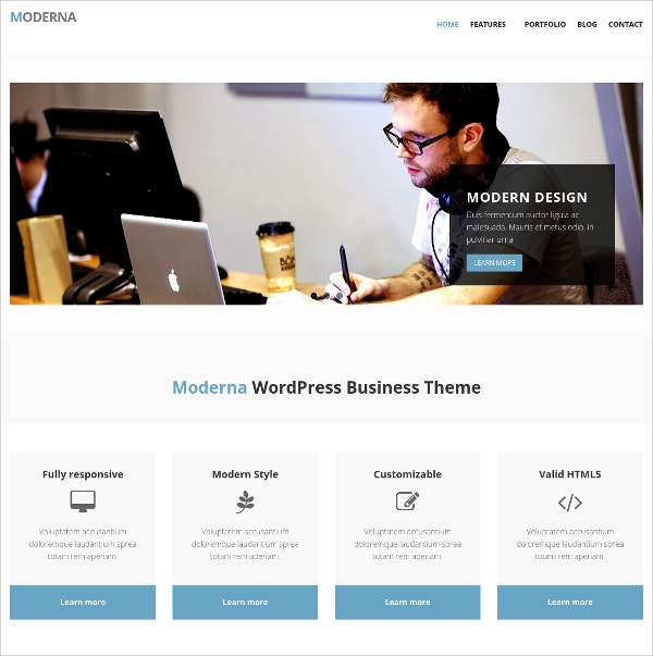 Modern Business Bootstrap WordPress Theme $19