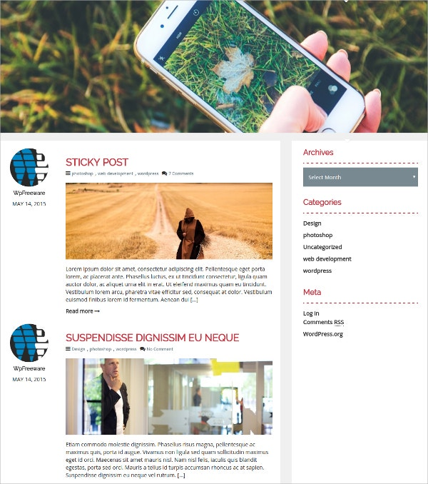 Free Photography Bootstrap WordPress Theme For Blogs