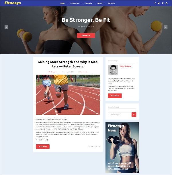 Fitness Blog Bootstrap WordPress Theme $45