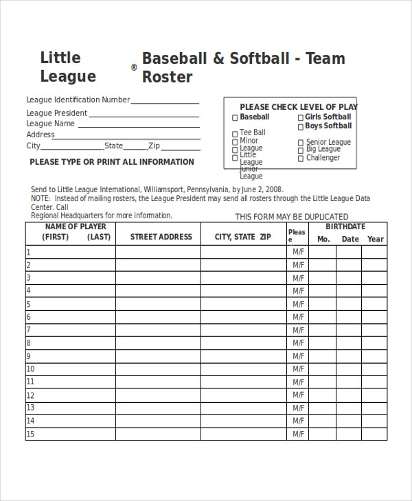 21 roster form templates 0 freesample example format for Baseball team roster template