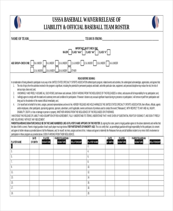 21 Roster Form Templates 0 FreeSample Example Format – Baseball Roster Template