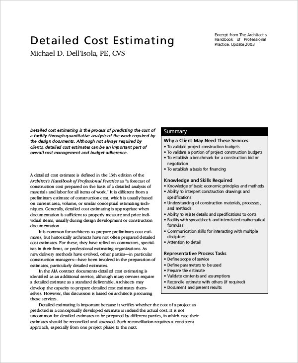 Detailed Cost Project Estimating Template