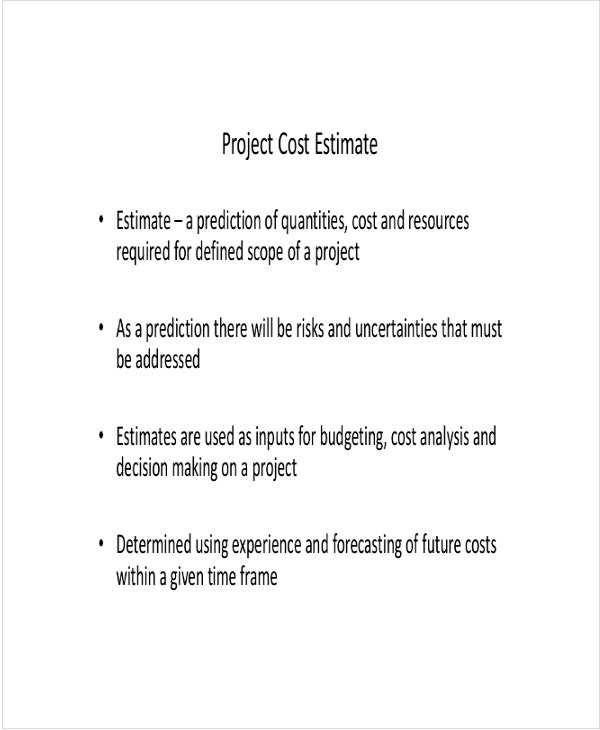 Project Cost Estimate Template
