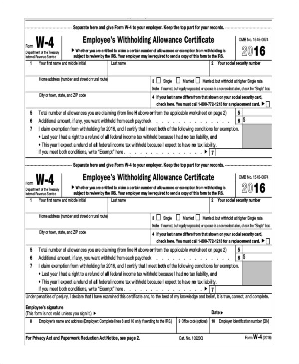 employee withholding allowance online certificate