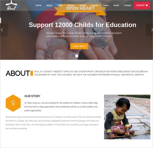Multipurpose Charity, Non Profit WordPress Theme $54