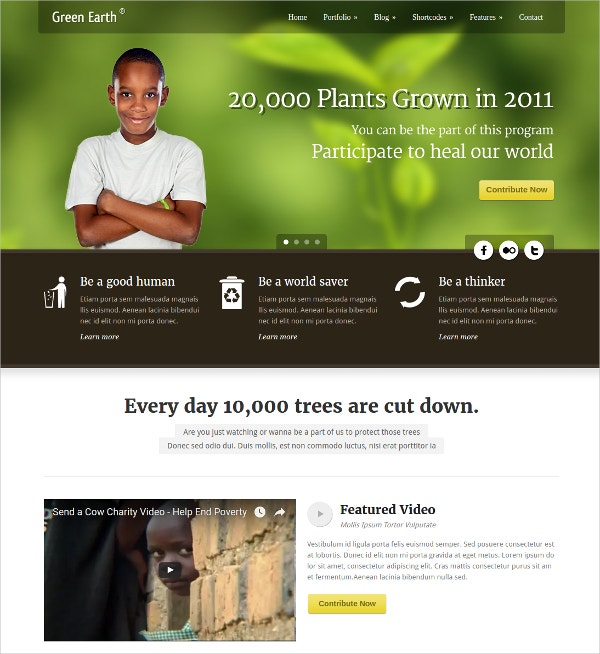Environmental Non Profit WordPress Website Theme