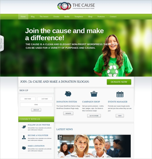 Elegant Non Profit WordPress Theme $59
