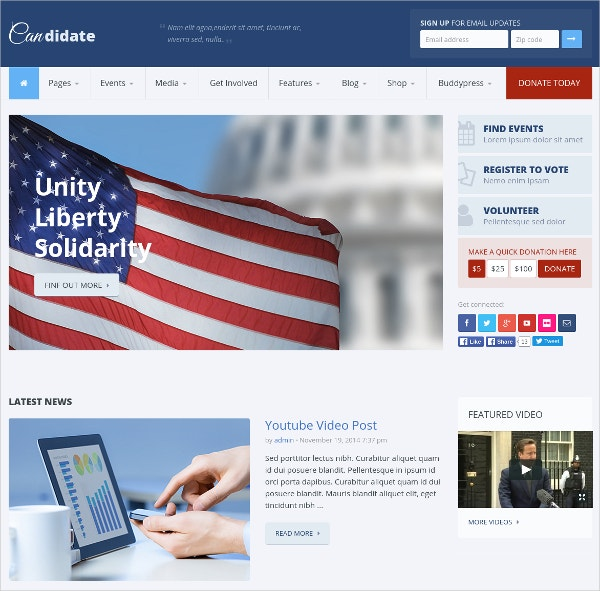 candidate political nonprofit wordpress website theme