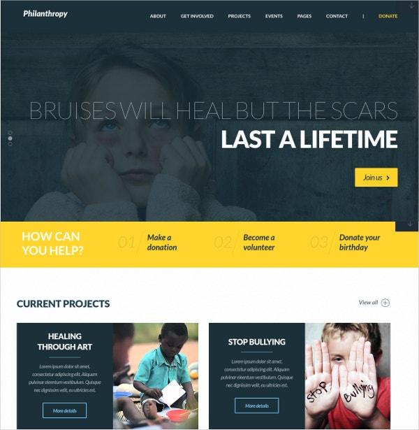 Creative Non Profit WordPress Website Theme $55