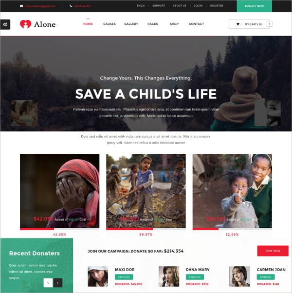 Charity Multipurpose Non Profit WordPress Theme $59