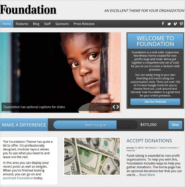 Foundation, Non Profit WordPress Theme $59