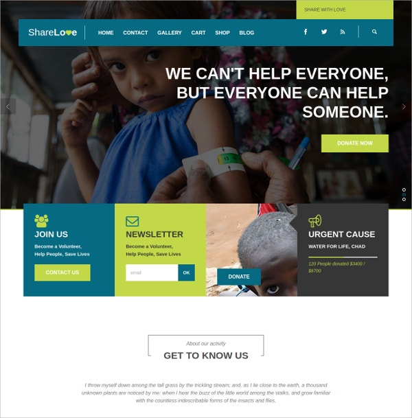 Creative Charity, Non-Profit WordPress Theme $59