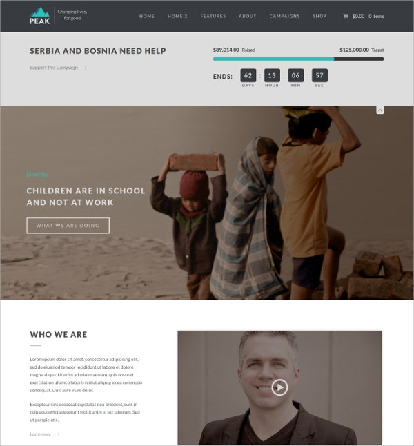 Charity Nonprofit & Donation Management WordPress Theme $59