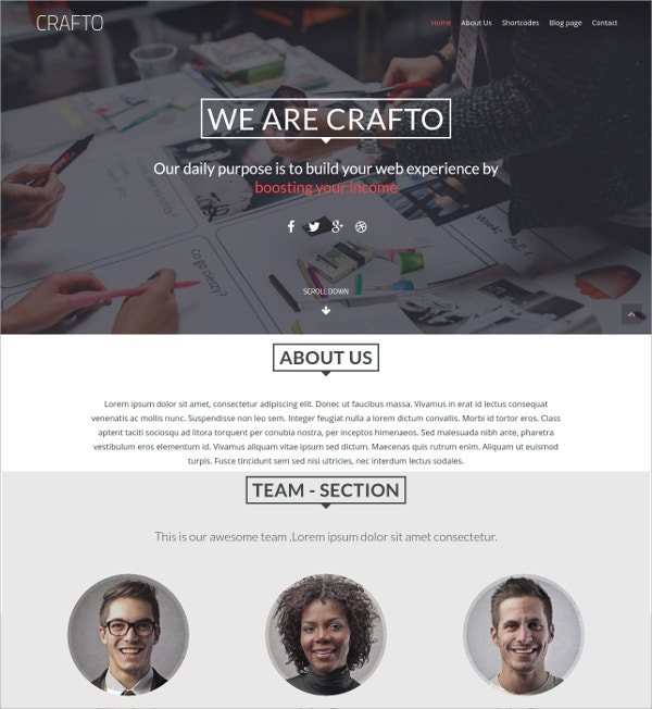 One Page portfolio Non Profit WordPress Theme