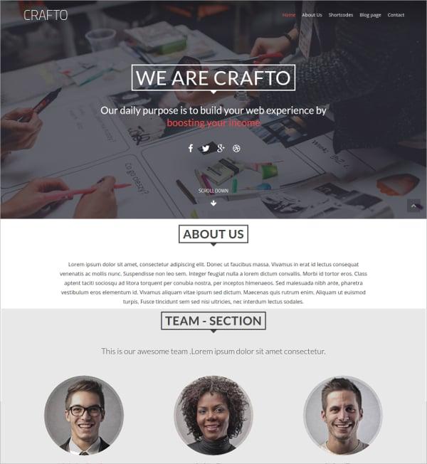 one page portfolio non profit wordpress theme