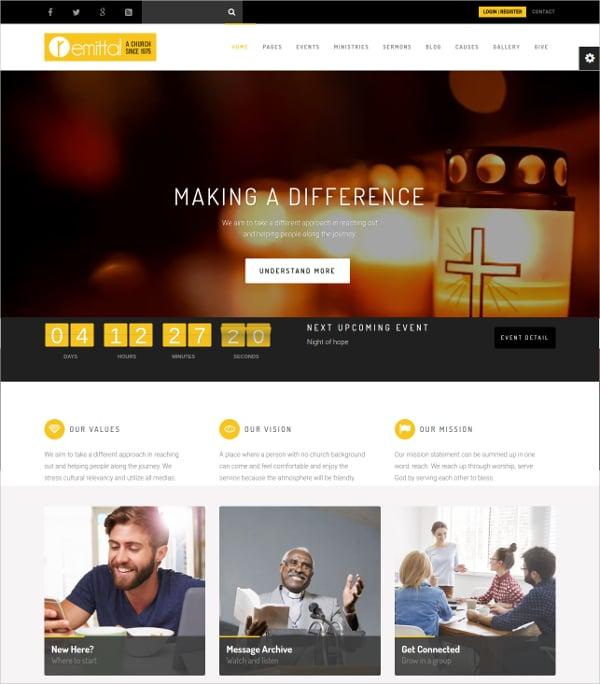 Church Non Profit Religious WordPress Website Theme
