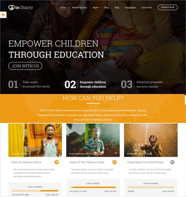 Fundraising, Non-profit organization WordPress Theme $59