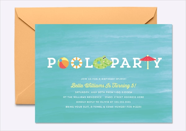 18 Kids Party Invitation Templates Free PSD AI Vector EPS – Pool Party Invite Template