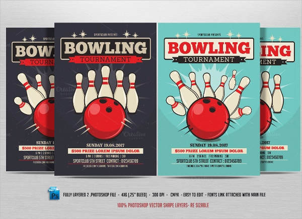 Playing Bowling Flyer Template