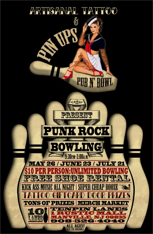Punk Rock Bowling Flyer  Bowling Flyer Template Free