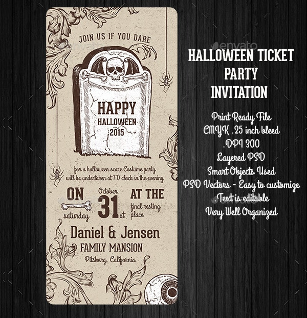 kids halloween party invitation template