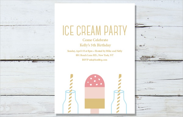 kids ice cream party invitation template