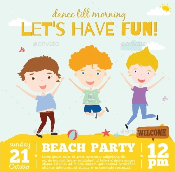 kids beach party invitation card