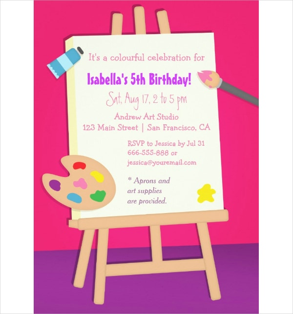 18 kids party invitation templates free psd ai vector eps painting arts kids birthday party card stopboris Image collections