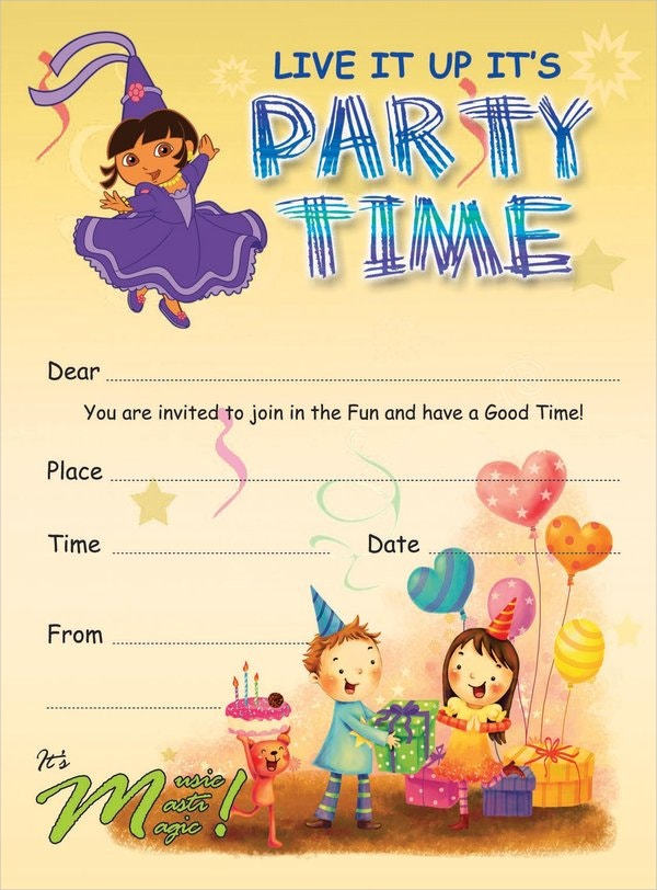 Kids Party Invitation Templates Free PSD AI Vector EPS - Templates for birthday party invitations