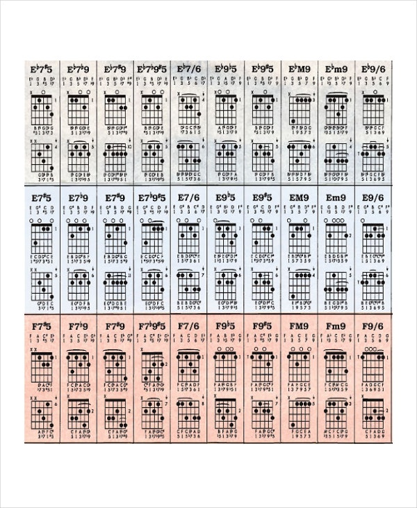 Guitar Chord Chart Templates  Freesample Example Format