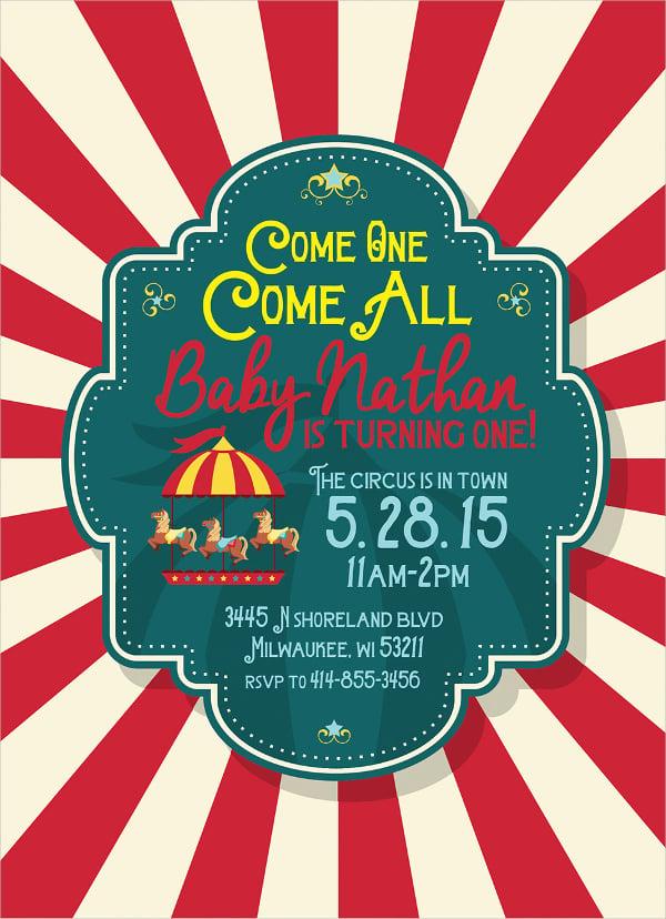 Kids Circus Birthday Invitation