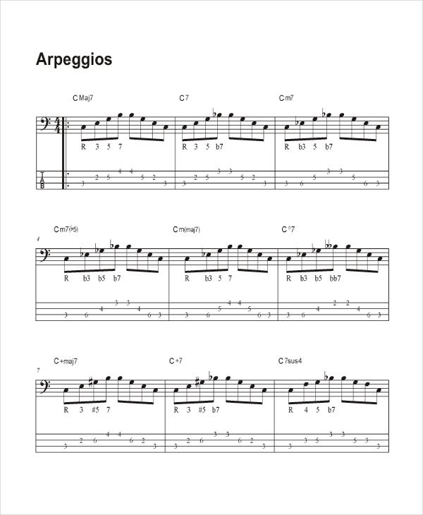 Arpeggio Guitar Chord Chart Template