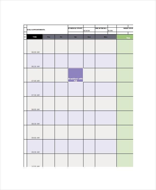 office appointment calendar template